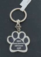 DOGS HAVE MASTERS CATS HAVE STAFF PAW SHAPE METAL KEY RING GIFT..